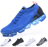 Wholesale new knitted - 2018 Discount Men Women Vapormax 2 2.0 New Knitting Running Shoes Sneakers Blue White black pink Trainers Sneakers Sports Runner Shoes 36-45