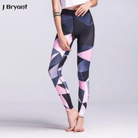 Wholesale legging spandex high waist - Yoga Leggings 2017 New Women Yoga Pants Legging Sport Fitness Femme Gym Tights 3D Print Geometric High Waist Athletic Leggings