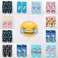 gülümseyen çoraplar toptan satış-Kitty 3d Baskı Kedi Çorap Unicorn Alien Kişilik Gülümseyen Yüz Ifadesi Pamuk Çorap Parti Malzemeleri Dekorasyon 2 3y bb