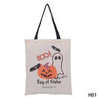 Wholesale Pumpkin Food - Halloween Gift Bag Large Sacks Canvas Cotton Drawstring Children Candy Bag Party Pumpkin Tote Halloween