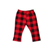kırmızı bebek tozlukları toptan satış-Yenidoğan Bebek Çocuk Bebek Kız Erkek Ekose Kırmızı Elastik Bel Pamuk Pantolon Tayt Külot Çekler Giysileri Kıyafet Bahar Güz