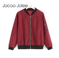 Jocoo Jolee Fashion Bomber Jacket Manica lunga da donna Cappotti basic  Casual Sottile Capispalla sottile Giacche Shopping globale b1e326e4c10