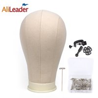 Wholesale head hat stand - Alileader Canvas Block Head Manequin Head Wig Display Styling With Mount Hole Plain Face with Stand for Wigs Hat
