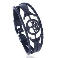 pulseras hechas de china al por mayor-Made In China Pulsera de amante de la moda en color negro y marrón Pulsera de cuero romántico de la pulsera