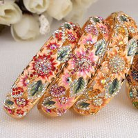 Wholesale korean gold diamond - Women's Cloisonne Gold Plated Bracelet Korean Fashion Bracelet High-grade Diamond Jewelry Wholesale