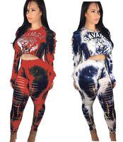Wholesale women nightclub shirts - Tiger Head Print Crop Top T Shirts+Ripped Pants 2pcs set Tracksuit Women Long Sleeve Short Pullover Tees Sexy Casual Nightclub Suits