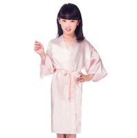 chicas vestidas de seda al por mayor-Niños Pink Faux Seda Robe Niños Kimono Yukata Vestido de Dama de Honor Niña de las Flores Vestido de Bañador Niño camisón Ropa de Hogar JA15