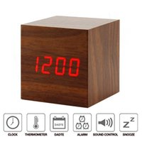 Wholesale Led Plastic Cube - Alarm Cube Wood Clock LED Mute Bedside Clock Temperature Digital Clock with Sound Control Function