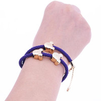 Wholesale electroplated beads - Charm Bracelet Fashion Women Retro Punk Jewelry DIY Handmade Braided Bracelet Men Women Gift Electroplating Bear Head Bracelet