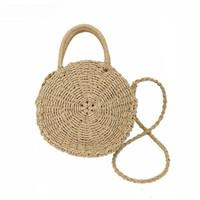 cuerdas de paja al por mayor-2018 mujeres hechas a mano de ratán bolso redondo vintage retro cuerda de paja de punto bolsa de mensajero señora bolsa de papel de verano para playa tote