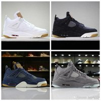 ingrosso cultura casella-2018 New 4 Jeans Jeans KAWS Travis Bianco Nero Blu Jean Men IV 4S Scarpe Uomo Sneakers Sportive Scarpe da Basket Con Scatola