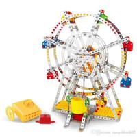 Wholesale 3d puzzle construction - 3D Assembly Metal Model Kits Toy Ferris Wheel With Music Box Building Puzzles 954pcs Accessories Construction Play Set