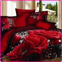 conjuntos de cama de rainha vermelha e rainha venda por atacado-Reativa Impresso 3D Bed Set 3D Conjunto De Cama Roupa De Cama Lençois Roupa de Cama Capa de Edredão Rosa Vermelha Preta Cobertura