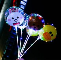 Wholesale Cartoon Christmas Balls - 12 Styles 18inch 3D Cartoon BOBO Ball Balloons Christmas Wedding Party Transparent Bear Duck Kids Balloon Flashing Decoration CCA8584 20pcs