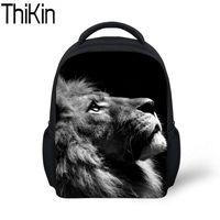 ingrosso cartelle animate per bambini-THIKIN Baby Mini School Bags per bambini Animal Lion Pattern Stampa Kindergarten Backpack Boys Cool Zaini zainetto Satchel