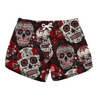 ingrosso ragazze abbigliamento rapido asciutto-Pantaloni Skull Short Scanties Pantaloncini da spiaggia Quick Dry da donna Pantaloncini estivi Girl Casual Skeleton Summer Clothing Plus Size