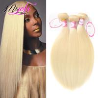 3adet bakire remı saç toptan satış-9A Vizon Bakire Perulu Saç Demetleri Insan Saçı Örgüleri Atkı # 613 Sarışın Remy İnsan Saç Uzantıları 3 Adet Set Başına 3 Adet Çift Atkı Joli