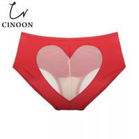 baumwollschlüpferherzen großhandel-CINOON Sexy Slip Bikini Love Herz Ausgeschnittener Bottom Mid-Rise Slip Einfarbig Unterhose für Damen Cotton Bottom Lingerie