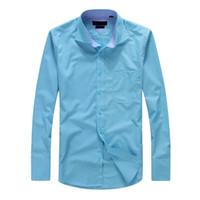 Wholesale turndown collar dress shirt - Top Sale Men shirt turndown Collar Dress Fashion Slim fit Long Sleeve Premium Cotton Shirting Men's Shirt