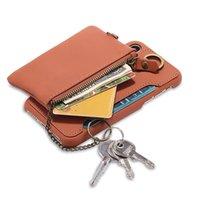 iphone cüzdan çift kılıf toptan satış-Evrensel Cüzdan Çanta Kılıf iphone 7 8 Retro Lüks Hakiki Deri Çanta Çift Fermuarlı Çanta Telefon Kılıfları Aksesuarları