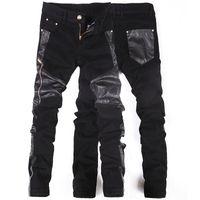 ingrosso punk rock coreano-Coreano New fashion cool Punk pantaloni uomo con cerniere in pelle Nero Skinny tight Plus size 32 33 34 36 Pantaloni rock