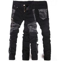 männer engen leder großhandel-Koreanische neue Mode coole Punk Hose Männer mit Lederreißverschlüssen Schwarz Skinny eng Plus Größe 32 33 34 36 Rock Hose