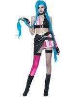 jinx cosplay venda por atacado-League of Legends Loose Cannon Jinx Terno Vestido da Mulher Malidaike Cosplay vestido de festa Halloween Costume