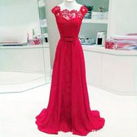 vestido suelto rojo al por mayor-Venta caliente rojo largo vestidos de noche de encaje de gasa simple elegante vestido de fiesta para la dama de honor de invitados maxi vestidos que fluyen por encargo al por mayor