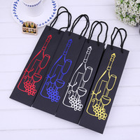 Wholesale Bottle Gift Paper Bag - Creative Simple Tote Pouch With Lift Rope Design Red Wine Paper Gift Bag Exquisite Bottle Storage Bags Durable 1 1mxa B