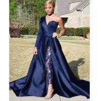 dubai balo resmi elbisesi toptan satış-Seksi Kraliyet Mavi Bölünmüş Dantel Abiye tulumlar pantsuit Ünlü Afrika Arapça Dubai Parti Gelinlik Modelleri Örgün Robe De Soiree