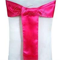 ingrosso fasce di fucsia-All'ingrosso-Spedizione gratuita 50pcs Fuchsia Satin Chair Sashes Bows 15cmX275cm Decorazioni per feste di matrimonio