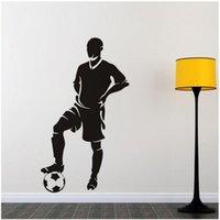 futbol çıkartmaları toptan satış-Futbol Futbol Yatak Odası Moda Güzelleştirme Arkaplan Wall Art Sticker Çıkartma Vinil Çıkarılabilir Duvar Çıkartmaları 57 * 102 cm
