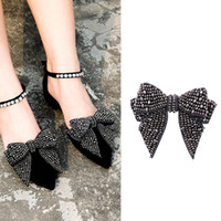 Wholesale strass crystal shoes - color flower shoe buckle Strass crystal decorations clips shoe charms accessories Diy handmade rhinestone Bow tie shoes flower accessories