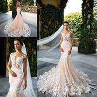 Wholesale Train Design Skirt - Champagne 2018 New Design Milla Nova Sheer Neck Mermaid Wedding Dresses Applique Lace Court Train Formal Wedding Birdal Dress Custom Made