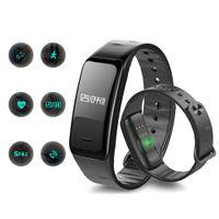 ingrosso trasporto libero del bluetooth del monitor del cuore-Inseguitore di fitness Smart orologi Smart Bracciale C1 IP67 impermeabile con polsino monitor della pressione sanguigna per la fascia di orologio del telefono di Apple Android