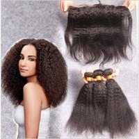1931693086db00 8A Brazilian Virgin Human Hair Kinky Straight Lace Frontal Closure With  Bundles Coarse Italian Yaki Hair 4Pieces Lot 100% Human Hair Weaves