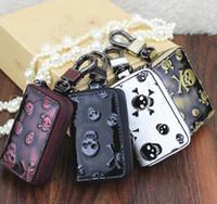 çantalar deri moda kafatası toptan satış-2018 yeni erkek kadın Anahtar Cüzdan Araba anahtarı çantası Hakiki Deri Kafatasları moda çanta