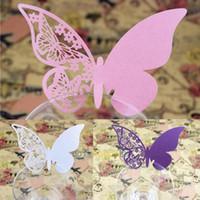 ingrosso i nomi di disegno del taglio del laser-Carte Cup Cut festa di nozze del laser 50pcs / lot libera il trasporto Tabella Pearlescent Nome Luogo cava di disegno della farfalla nozze favori feste