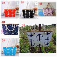 Wholesale Boat Handbag - Boat Anchor Handbag Shoulder Bag Women Canvas Messenger Bag Ladies Beach Bags Stripes Anchor Totes Designer Shopping Bags