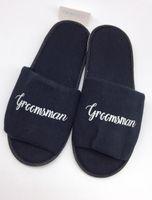 ingrosso ciabatte personalizzate-moda personalizzare la lingua nero Pantofole da sposa, ciabatte da sposa, pantofole Groomsman stampa personalizzata pantofole da sposa