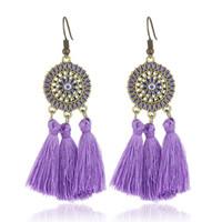 фиолетовые украшения павлина оптовых-Разноцветные кисточки, серьги с подвесками, женские ретро, цветочные бриллианты, люстры, серьги, капли, оранжевые, фиолетовые, синие, с бахромой, серьги.