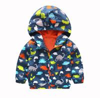 wasserdichte kleidung für kinder großhandel-Kinder Jungen Wasserdicht Winddicht Mit Kapuze hooodies Kinder Dinosaurier Regen Mantel Oberbekleidung Kinder Jungen Kleidung