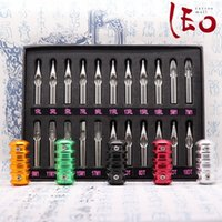 Wholesale Steel Grips - Tattoo Tips set Stainless steel 22 Steel Single arc & 5 Piece Tattoo Aluminum Grips Good For Apprentice