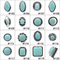 Wholesale Wholesale Costume Jewelry Sets - Retro Turquoise Rings 152 styles Punk Style Green Natural Stone Rings Fashion Costume Gemstone Female&Male Ring Jewelry