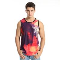 Wholesale Wolf Eyes - Wholesale free shipping men summer sleeveless 3d digital print smoking big eye wolf anime vest top tee