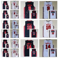 Wholesale Magic Cotton - 1992 USA Dream Team One 8 Scottie Pippen Jersey 14 Charles Barkley 11 Karl Malone 15 Magic Johnson 7 Larry Bird Basketball Jerseys College