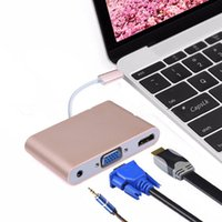 Wholesale Usb Laptop Charger Cable - USB 3.1 Type-C to VGA  USB 3.0  Type C Adapter Converte Hub Converter Charger Adapter for Macbook Laptop USB-C OTH169