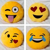 spielzeug amüsant plüsch großhandel-2016 hohe qualität 4 stile nette emoji emoticon plüschtiere form kissen weiche puppen lustige kissen amüsant kissen