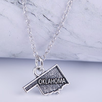 Wholesale crystal map - NEW Map Charm Two Styles OKLAHOMA Map Charm silver Pendant Necklace state jewelry gifts for men and women