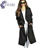 kırmızı yün harman katları toptan satış-XYLXJQ 2018 Kış Ceket Kadınlar Geniş Yaka Kemer Cep Yün Karışımı Coats Boy Uzun Kırmızı Trençkot Dış Giyim Yün JB232